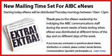 New Mailing Time Set For AIBC eNews - Draft 2