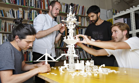 Oliver Wainwright (right) and friends trying out the Lego Architecture Studio