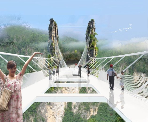 China Set to Open World's Longest and Highest Glass-Bottom Bridge
