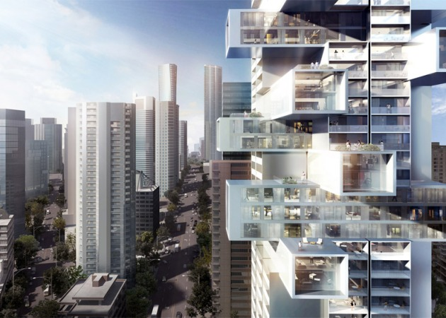 The design by architect Ole Scheeren for a landmark residential tower at 1500 West Georgia St. in downtown Vancouver features horizontal elements jutting out. The development is by partners Bosa Properties and Kingswood Properties. Courtesy of Buro Ole Scheeren