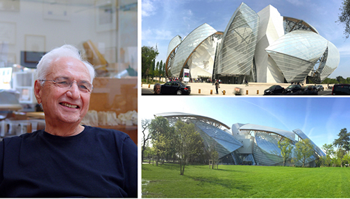 Image: (L) Frank Gehry, courtesy of the Getty Museum. (R) Frank Gehry's Fondation Louis Vuitton, photo by Edward Goldman