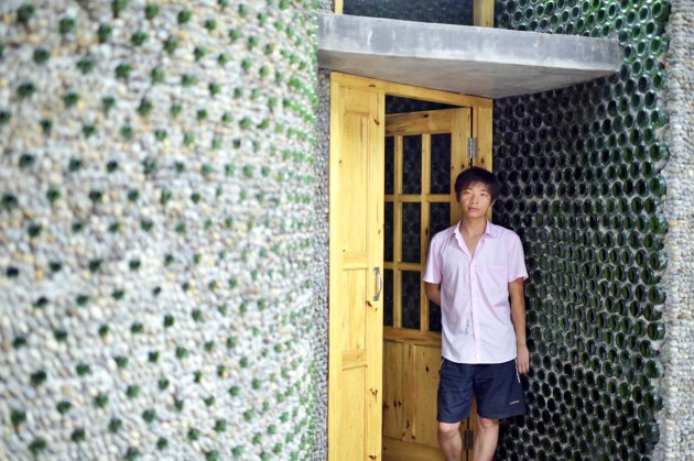 An aspiring architect in China has built his very own office using thousands of recycled beer bottles. Courtesy of Inhabitat