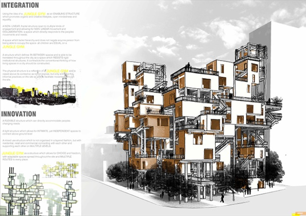 "In the tall wood housing category, co-winner of the Grand Prize was Ayla Harvey (South Africa), an architectural student. Her design ""Jungle Gym"" was praised by the jury as ""playful and imaginative capturing the dynamic spirit of urban life."" Courtesy of Ayla Harvey and DBR 