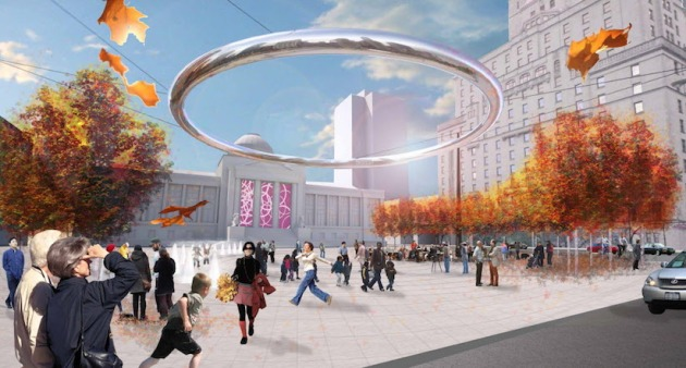 Image: Concept design for the redevelopment of the north plaza of the Vancouver Art Gallery showing the   PLALO ring, a floating circular ring for lighting and sound. Courtesy of Milkovich Architects Inc.
