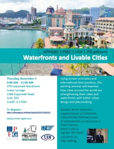 Waterfronts and Livable Cities seminar on Nov 5