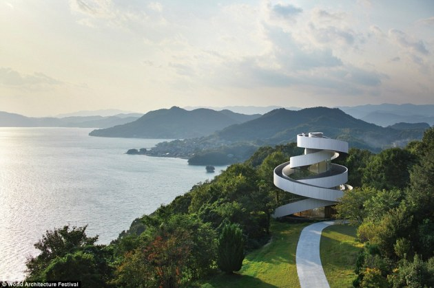Image: Pictured is the Ribbon Chapel in Hiroshima, Japan, which has twin spiral staircases design to represent the union of man and wife and a symbol of marriage. Courtesy of World Architecture Festival, Daily Mail
