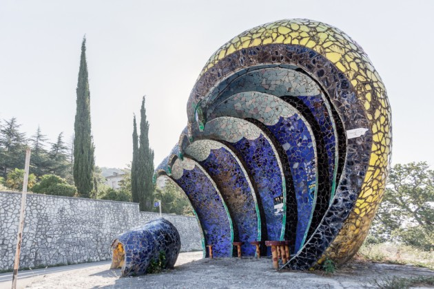 Image: Chris Herwig traveled throughout the former Soviet Union photographing elaborate bus stops. This one from Abkhazia was designed by Zurab Tsereteli.