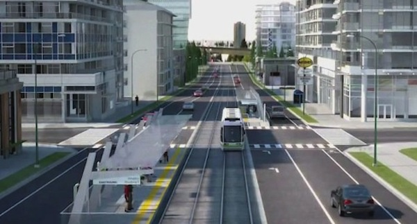 Image: City of Surrey is finalizing light rail station locations. Courtesy of BCBusiness, photo from city of Surrey