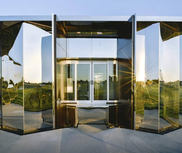 Image: The Castle Downs Park Pavilion is wrapped in a skin of stainless steel and contains such humble facilities as washrooms and a meeting room. Courtesy of The Globe and Mail, photo by Raymond Chow