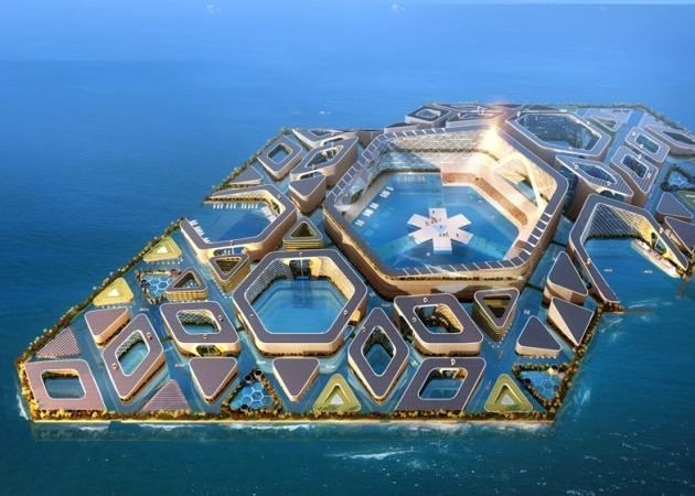 Image: AT Design Office's floating city concept in China is under consideration. Courtesy of Dezeen