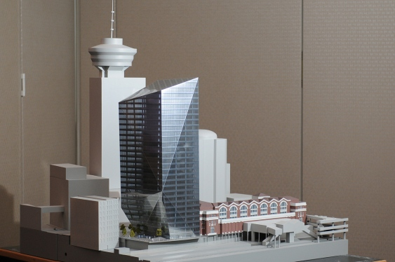 Image: The original plan for the Waterfront Tower at 555 West Cordova was widely panned, but the design team is revising its proposal. Courtesy of Vancouver Courier, photo by Dan Toulgoet