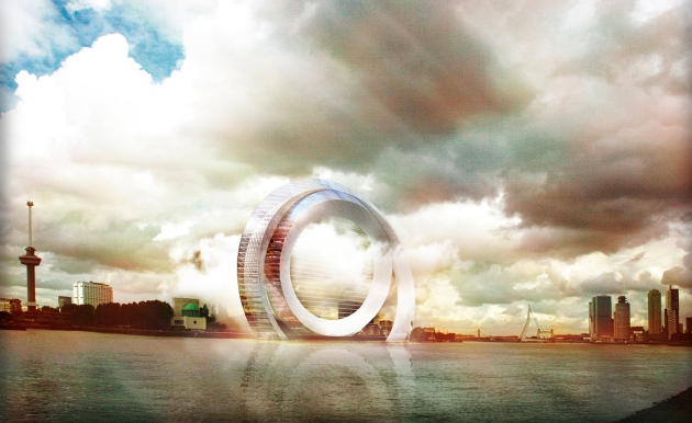 Image: An ambitious new sustainability and architecture-led project is set to land on the shores of Rotterdam. The Dutch Wind Wheel will be an innovative mixed use scheme, using breakthrough eco technologies. Courtesy of Wallpaper, DoepelStrijkers