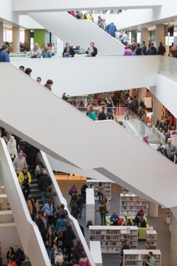 Image: More than 10,000 people visited the Halifax Central Library on opening day last December. Courtesy Canadian Architect, photo by Adam Mark