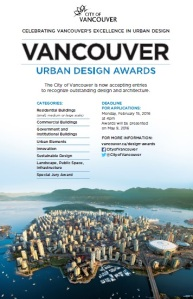 City of Vancouver Urban Design Awards Deadline Feb 15, 2016
