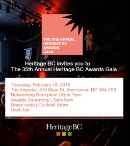 Heritage BC Awards 2016 Taking Place Feb 18