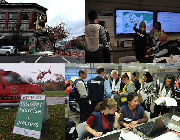 "Image: Clockwise L to R: A damaged building requiring assessment during ""Operation Windshield"" simulation exercise coordinated by North Shore Emergency Management; damage assessors working in the ""emergency operations centre"" disaster with participation from members of the AIBC's Post-Disaster Response Committee. Photos: Mike Wakefield"